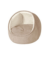 Soft Touch Hooded Snuggler Cat Bed with Cushion
