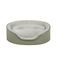 Soft Touch Faux Suede Oval Cuddler Dog Bed with Cushion