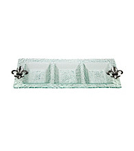 Thirstystone® Fleur de Lis 3-Section Glass Serving Tray