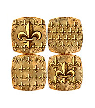 Thirstystone® Appetizer Plates - Gold Fleur de Lis Collection