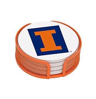 Thirstystone® University of Illinois 4-pc. Coaster Set with Holder