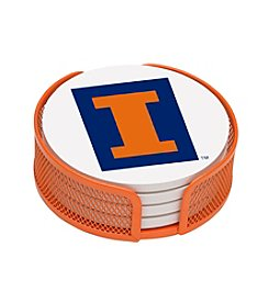 NCAA® University of Illinois 4-pc. Coaster Set with Holder