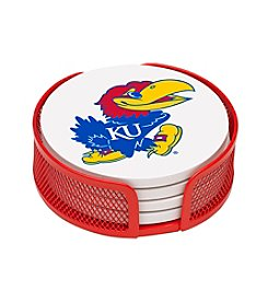 NCAA® University of Kansas 4-pc. Coaster Set with Holder