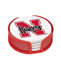 NCAA® University of Nebraska 4-pc. Coaster Set with Holder
