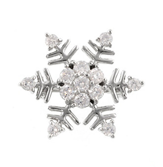 Athra Sterling Silver with Cubic Zirconia Snowflake Pin