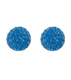 Athra Dark Blue Crystal Half Ball Earrings