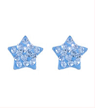 Athra Sterling Silver Light Blue Crystal Star Post Earrings