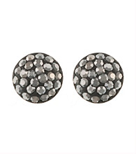 Athra Sterling Silver Gray Crystal Half Ball Earrings