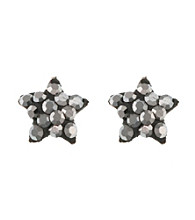 Athra Sterling Silver Gray Crystal Star Post Earrings