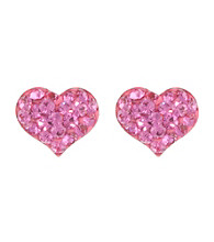 Athra Sterling Silver Pink Crystal Heart Post Earrings