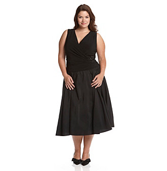 Knitted Dress on Jessica Howard   Plus Size Knit Taffeta Side Gathered Dress   Black