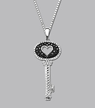 Sterling Silver .25 ct. t.w. Diamond Heart Key Pendant