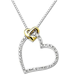Sterling Silver and 14K Gold Wrapped Diamond Heart Pendant