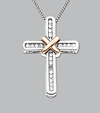 Sterling Silver and 14K Rose Gold .12 ct. t.w. Diamond Cross Pendant