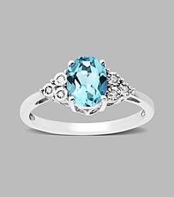 Sterling Silver Blue Topaz and .03 ct. t.w. Diamond Ring