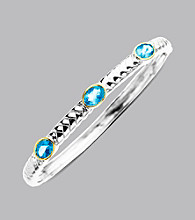 Sterling Silver with 14K Gold Blue Topaz Bangle Bracelet