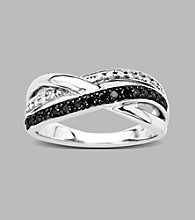 Sterling Silver .33 ct. t.w. Black And White Diamond Ring