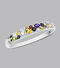 Sterling Silver Multicolor Semi Precious Bangle Bracelet