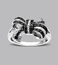 Sterling Silver .20 ct. t.w. Black and White Diamond Bow Ring