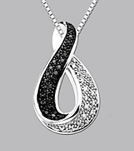 Sterling Silver .25 ct. t.w. Black and White Diamond Pendant