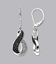Sterling Silver .25 ct. t.w. Black and White Diamond Earring