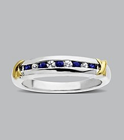 Sterling Silver with 14K Gold Blue and White Sapphire Band Ring