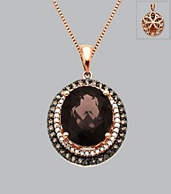 14K Rose Gold Smoky Quartz and .37 ct. t.w. Diamond Pendant