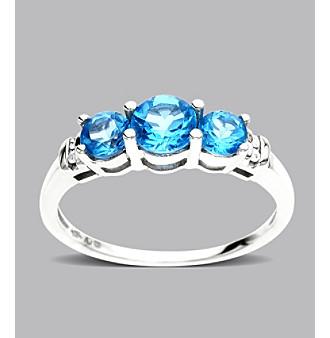 Three Stone Blue Topaz Ring in 10K White Gold