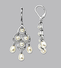 Sterling Silver Freshwater Pearl and .09 ct. t.w. Diamond Chandelier Earring
