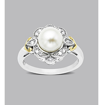 Sterling Silver with 14K Gold Freshwater Pearl and .10 ct. t.w. Diamond Ring