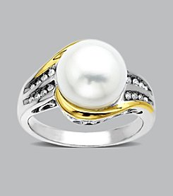 Sterling Silver with 14K Gold Freshwater Pearl and .07 ct. t.w. Diamond Ring