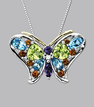 Sterling Silver and 14K Gold Multi Semi Precious Butterfly Pendant