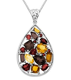Sterling Silver and 14K Gold Multicolor Semi-Precious Teardrop Pendant