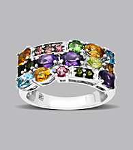 Sterling Silver and 14K Gold Multicolor Semi Precious Ring