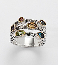 Effy® Collection Sterling Silver and 18K Gold Multi Semi Precious Ring