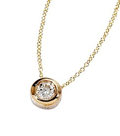 Effy® D'Oro Collection .20 ct. t.w. Diamond Bezel and Solitaire Pendant - 14K Gold
