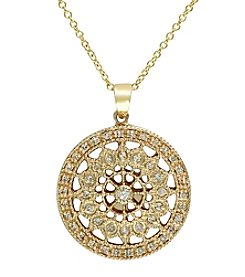 Effy® D'Oro Collection 14K Gold .25 ct. t.w. Diamond Filigree Pendant