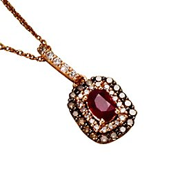 Effy® 14K Rose Gold Lead Glass Filled Ruby with .43 ct. t.w. Brown and White Diamond Pendant