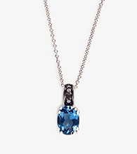 Effy® 14K White Gold London Blue Topaz and .06 ct. t.w. Black Diamond Pendant