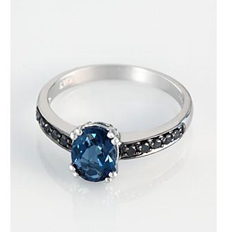Effy® 14K White Gold London Blue Topaz and .06 ct. t.w. Black Diamond Ring