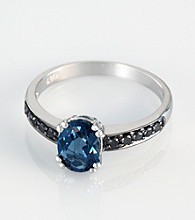 Effy® 14K White Gold London Blue Topaz and .06 ct. t.w. Black Diamond Ring