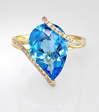 Effy® Blue Topaz & Diamond Ring in 14K Yellow Gold