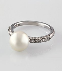 Effy® 14K White Gold Cultured Pearl and .19 ct. t.w. Diamond Ring