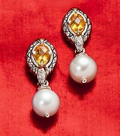 Effy® Sterling Silver with 18K Gold Citrine and Freshwater Pearl Earring