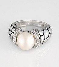 Effy® Sterling Silver Freshwater Pearl and White Sapphire Ring