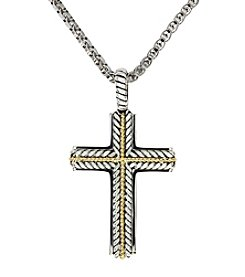 Effy® Sterling Silver and 18K Gold Cross Pendant