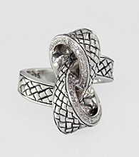 Effy® Collection Sterling Silver and 18K Gold .13 ct. t.w. Diamond Knot Ring