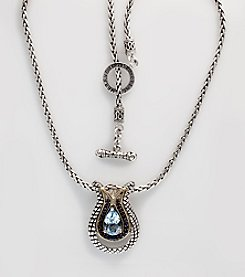 Effy® Sterling Silver with 18K Gold Blue Topaz and Sapphire Pendant