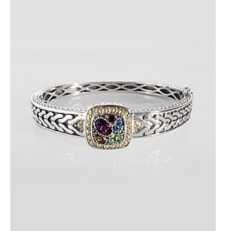Effy® Sterling Silver and 18K Gold Multi Semi Precious Bangle Bracelet