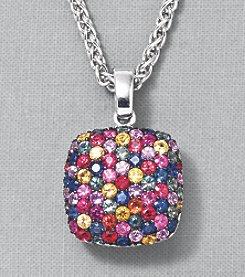 Effy® Sterling Silver Multi Sapphire Square Pendant